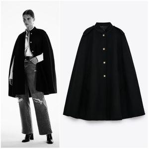NWT ZARA WOMAN | Wool Blend Short Black Cape